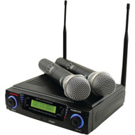Pyle Pro Wireless Professional Uhf Dual Channel Microphone System With Adjustable Frequency