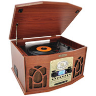 Pyle Home Bluetooth Retro Vintage Classic Style Turntable Vinyl Record Player With Vinyl-to-mp3 Recording (wood)