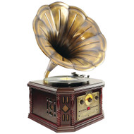 Pyle Home Retro-style Bluetooth Turntable Phonograph With Acoustic Horn Am And Fm Radio & Cd & Cassette Players