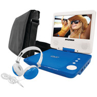 "Sylvania 7"" Swivel-screen Portable Dvd Player Bundle (blue)"