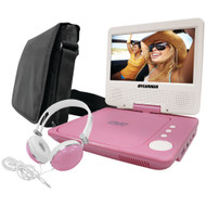 "Sylvania 7"" Swivel-screen Portable Dvd Player Bundle (pink)"
