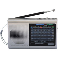 Supersonic 9-band Rechargeable Bluetooth Radio With Usb And Sd Card Input (silver)