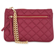Alexis Red Quilted Faux Leather Clutch With Gold Chain Wristlet