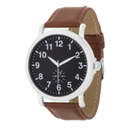Silver Classic Watch With Brown Leather Strap