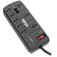 Tripp Lite Protect It! 8-outlet Surge Protector With 2 Usb Ports  8ft Cord (telephone And Modem)