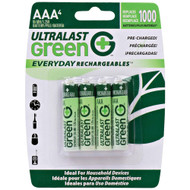 Ultralast Green Everyday Rechargeables Aaa Nimh Batteries 4 Pk