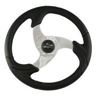 """Schmitt Folletto 14.2"""" Black Poly Steering Wheel w\/ Polished Spokes and Black Cap - Fits 3\/4"""" Tapered Shaft Helm [PU026101]"""