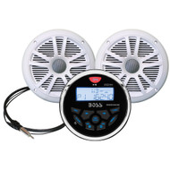 "Boss Audio MCKGB350W.6 Combo - Marine Gauge Radio w\/Antenna  2 6.5"" Speakers - White [MCKGB350W.6]"