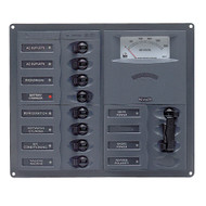 BEP AC Circuit Breaker Panel w\/Analog Meters, 8SP 2DP AC120V Stainless Steel Vertical [900-AC2H-AM-110]