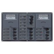 BEP AC Circuit Breaker Panel w\/Analog Meters, 12SP 2DP AC230V Stainless Steel Horizonal [900-AC3-AM]
