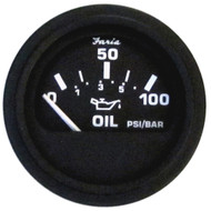 Faria Euro Black Oil Pressure Gauge - 100 PSI [12845]