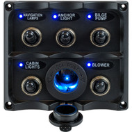 Sea-Dog Water Resistant Toggle Switch Panel w\/LED Power Socket - 5 Toggle [424627-1]