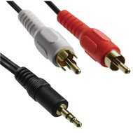 Axis 41360 Y-Adapter with 3.5mm Stereo Plug to 2 RCA Plugs, 3ft