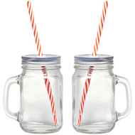 Gourmet By Starfrit 080049-006-0000 16-Ounce Mason Jar Mugs, 2 pk with Straws