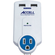 ACCELL D080B-010K Home or Away Power Station 3-Outlet Travel Surge Protector (White)