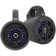 Pyle PLMRLEWB47BB 4-Inch 300-Watt Waterproof Marine Wakeboard Tower Speakers with LEDs (Black)