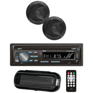 "Pyle PLCDBT75MRB Marine Single-DIN In-Dash CD AM/FM Receiver with Two 6.5"" Speakers, Splashproof Radio Cover & Bluetooth (Black)"
