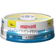 Maxell 635117 4.7GB 120-Minute DVD-RWs, 15-ct Spindle