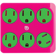 Uber 25110 6-Outlet Power Tap (Pink & Green)