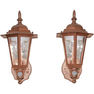 MAXSA Innovations 46719-2PACK Battery-Powered Motion-Activated Plastic LED Wall Sconce, 2-Pack (Bronze)