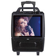QFX KAR-812 Portable Karaoke Speaker System with Bluetooth, 14-Inch Screen, and 2 x 5-Inch Speakers