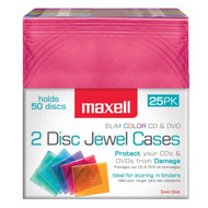 Maxell 190131OD Dual-Disc Jewel Cases, 25 Pack