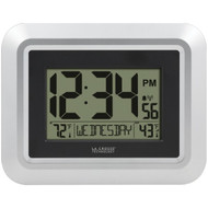 La Crosse Technology 513-1918S-INT Atomic Digital Wall Clock with Indoor/Outdoor Temperature