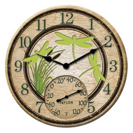 Taylor Precision Products 92674T 12-Inch Dragonflies Clock with Thermometer