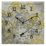 Taylor Precision Products 92692T 14-Inch x 14-Inch Beachwood Clock with Thermometer