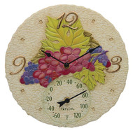 Taylor Precision Products 92689T 14-Inch Grapes Clock with Thermometer
