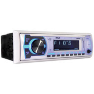 Pyle PLMRB29W Single-DIN In-Dash Digital Marine Stereo Receiver with Bluetooth (White)