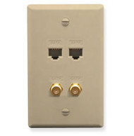 FACEPLATE IDC 2 DATA and 2 F TYPE IVORY