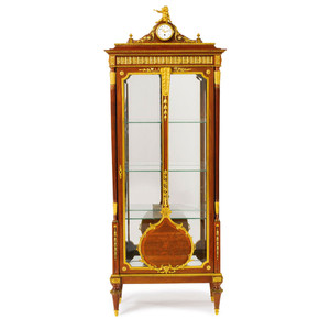 A Fine Louis XVI Style Gilt Bronze Mounted Floral Marquetry Vitrine attrib François Linke