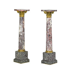 A Fine Quality Pair of Ormolu Mounted Marble Pedestal with Corinthian Capitol