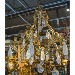 A Stunning Large Louis XV Style Gilt-Bronze Six-Light Chandelier