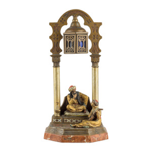 Antique Austrian Cold-Painted Bronze Figures of a man listening to a musician playing Mandolin by Franz Bergman