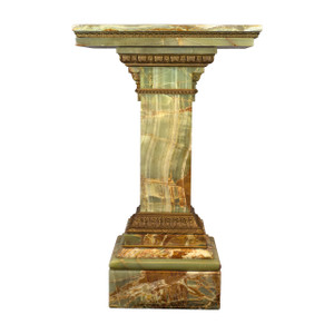 A Fine Gilt-Bronze Mounted Green Onyx Pedestal with  Revolving Top