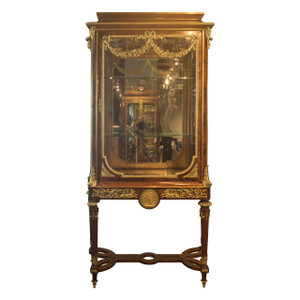 Louis XVI Style Gilt Bronze Mounted Kingwood Vitrine attrib. F. Linke