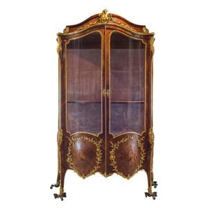 Ormolu-Mounted Kingwood and Marquetry Two-Doors Vitrine
