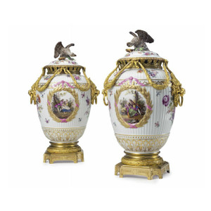 A Fine Pair of Gilt Bronze Mounted Painted Porcelain Vases and Eagle Finial Covers by K.P.M.