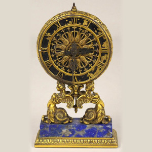 A Magnificent Renaissance Revival-style Gilt Bronze Desk Clock Attributed to E.F. Caldwell, New York
