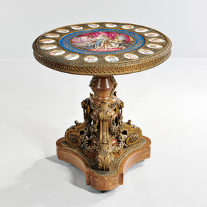 Sèvres-style Gilt-bronze with Porcelain Plaques Center Table
