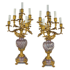 A Fine Pair of Louis XV Style Ormolu and Rouge Marble Seven-Light Candelabra