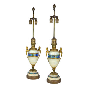 French Gilt Bronze Mounted Champleve Enamel & Onyx Lamp with Figural Ormolu Handles.