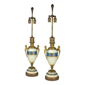 Pair of Gilt Bronze Mounted Champleve Enamel & Onyx Lamp