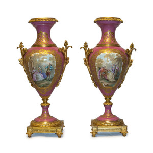A Fine Quality Pair of Ormolu Mounted Sèvres Style Porcelain Pink-Ground Vases