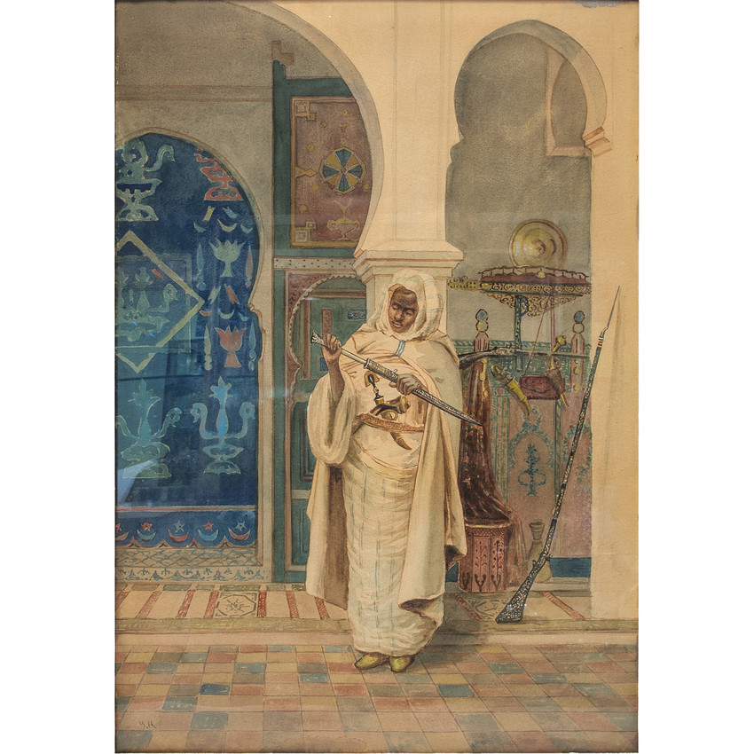 A Fine Painting of An Arab Admiring The Sword