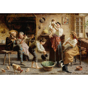 A Fine Painting of the Baby's Bath by Eugenio Zampighi