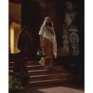 A Fine Orientalist Painting Depicting a Man Entering the Temple by Rudolf Ernst