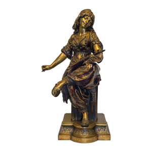 A Fine Quality Polychrome Bronze Sculpture of a Lady Playing a Lute by Émile-Coriolan-Hippolyte Guillemin